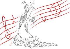 Spanish dance - stock illustration