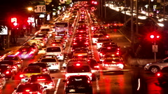 Night time-lapse cars red trail lights very fast movement Stock Footage