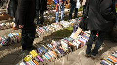Book sales on street Stock Footage