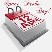 Calendar 12  April .Space Probe Day. Stock Illustration