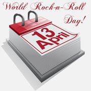 Stock Illustration of Calendar 13  April .World Rock-n-roll Day