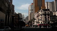 Traffic in the Sao Paulo city, Brazil. Sao Joao avenue and Ipiranga Stock Footage
