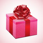 Gift pink box with a red bow Stock Illustration