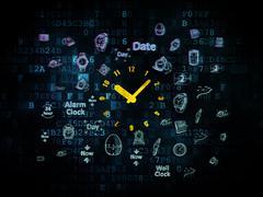 Stock Illustration of Timeline concept: Clock on Digital background