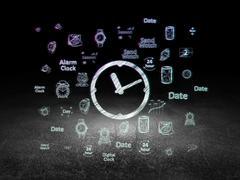 Time concept: Clock in grunge dark room Stock Illustration