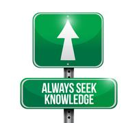 always seek knowledge road sign concept - stock illustration