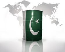 Barrel with pakistani flag Stock Photos