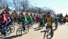 the mass arrival of people on bikes - stock footage
