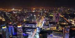 Night modern city illumination. Bangkok cityscape panoramic view Stock Footage