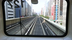 Driver's view from moving metro, urban perspective, cityscape Stock Footage