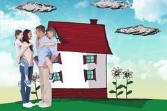 Composite image of side view of parents giving piggyback ride to children - stock illustration