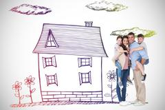 Composite image of parents giving piggyback ride to children over white - stock illustration