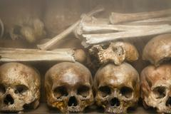 Human Bones at Tuol Sleng Genocide Museum in Cambodia - stock photo