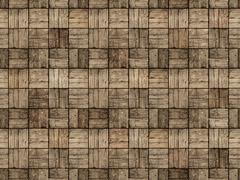 Wooden Patio in Parquet Style with Alternating Woodgrain - stock photo