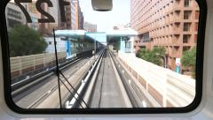 Arriving to outside metro station, driver view from cabin Stock Footage