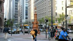 Lotta's fountain in San Francisco, USA. Stock Footage