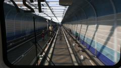 Futuristic metro tunnel, outdoor lane, speed and flickering grid Stock Footage