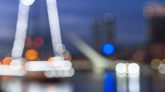 Argentina Buenos Aires Puerto Madero at night with bridge Stock Footage