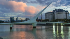 Stock Video Footage of Argentina Buenos Aires Puerto Madero at night with bridge