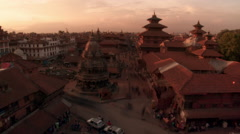 Evening Time-lapse of Patan Durbar Square - Before Earthquake Stock Footage