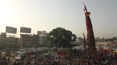 Wide Shot of Macchindranāth with Crowd Stock Footage