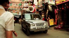 Political Party Car with Speakerphone in Kathmandu, Nepal Stock Footage