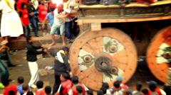 Big Wheels of the Macchindranāth in Kathmandu, Nepal Stock Footage