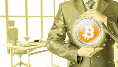 Businessman with protective gesture bitcoins Stock Illustration