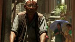 Man on Bicycle in Kathmandu, Nepal Stock Footage
