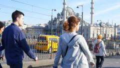 People on Galata Bridge. 4K Stock Footage