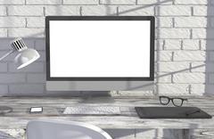 3D illustration PC screen on table near brick wall Workspace - stock illustration