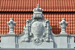 Bas-relief on the building Koenigsberg higher regional court. Kaliningrad (fo Stock Photos