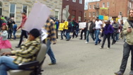 Stock Video Footage of Freddie Gray protesters in Baltimore