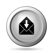 Stock Illustration of Receive e-mail icon. Internet button on white background..