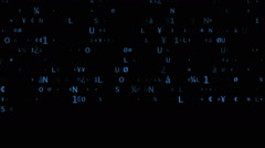 Letters fast moving on black background Stock Footage