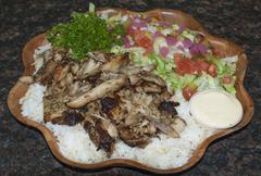 Chicken Shawarma Platter Dish - stock photo