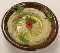 Lebanese Baba Ghanouj Dish - stock photo