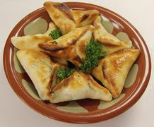 Lebanese Fatayer Spinach Meat Pockets - stock photo