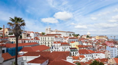 4K timelapse of Lisbon rooftop from Portas do sol viewpoint - Miradouro in Portu Stock Footage