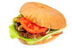 realistic looking hamburger - stock photo