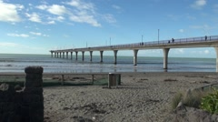 Looking up along New Brighton Pier New Zealand Stock Footage