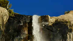 Yosemite Bridalveil Fall 96fps 03 Tilt Down Slow Motion Waterfalls - stock footage