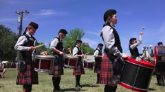 Scottish band, pipe and drums ,pan - stock footage