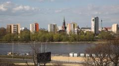 Warsaw Poland skyline, the Vistula river Stock Footage