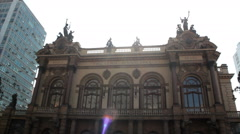 Municipal Theatre of Sao Paulo, Brazil. One of the landmarks of the city Stock Footage
