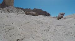 Flying shot through desert ravine at Goblin Valley State Park Stock Footage