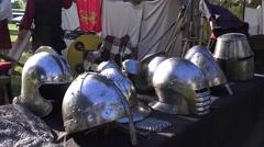 Scottish games , armor helmets display - stock footage