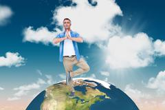 Composite image of man with grey hair in tree pose - stock illustration
