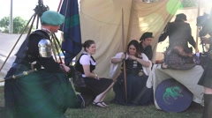 Scottish tent and bagpiper - stock footage