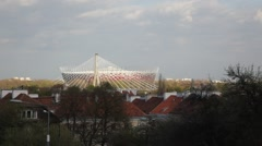 The National Stadium and the cable stayed Swietokrzyski Bridge Stock Footage